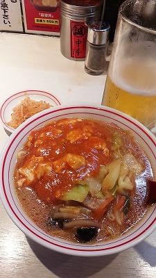 蒙古タンメン中本生ビールと半ラーメンセット
